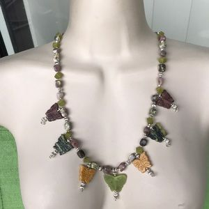 Gorgeous vintage jade and genuine stones necklace